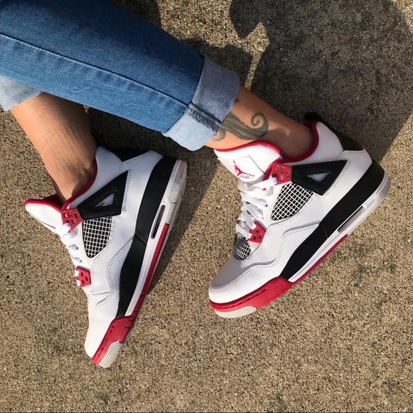 Air Jordan Retro 4 Fire Red Shoes Womens Size 7